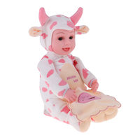 Adorable Music Plush Baby Doll Toys Stuffed Animals Doll Reborn Infant Baby Dolls Model Pink Cow Toys Birthday Gifts