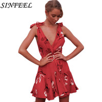 Summer Floral Print Dress Women Sexy V Neck Sleeveless Dress Evening Party Beach Girls Sundress Female Short Mini Dress Vestidos