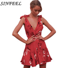 Summer Floral Print Dress Women Sexy V Neck Sleeveless Dress Evening Party Beach Girls Sundress Female Short Mini Dress Vestidos white random floral print v neck sleeveless mini dress