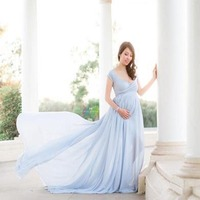 Long Ruffle Dresses Maternity Photography Props Maxi Dresses Pregnancy Dress For Photo Shoot Pregnant Women Clothes Chiffon