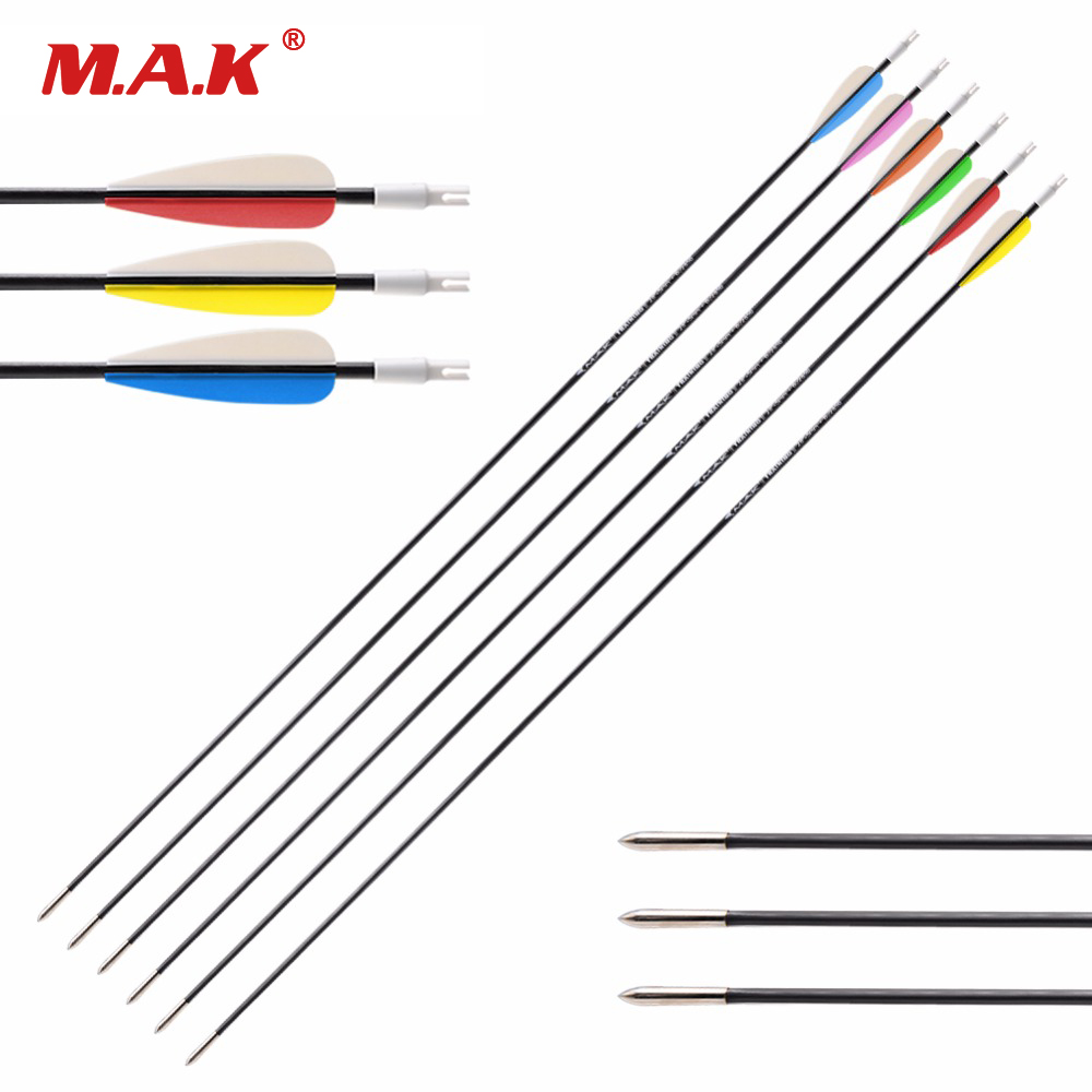 12 Pcs Fiberglass Solid Arrow 26 28 30 Inches Diameter 5 Mm 6 Color Vanes For