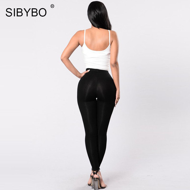 Sexy Leggings Women Autumn Winter Full Length Pencil Pants Sexy Fitness Lace Up
