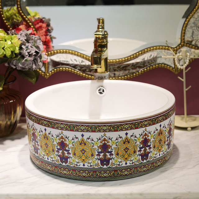 Chinese Antique Ceramic Sink China Wash Basin Ceramic Counter Top Wash  Basin Bathroom Sinks Cabinet Bathroom