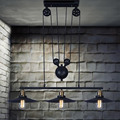 2 Heads/3 Heads Lightings Retro Iron Pulley Pendant Lights Loft American Vintage Industrial Pulley Rope Edison Pendant Lamps