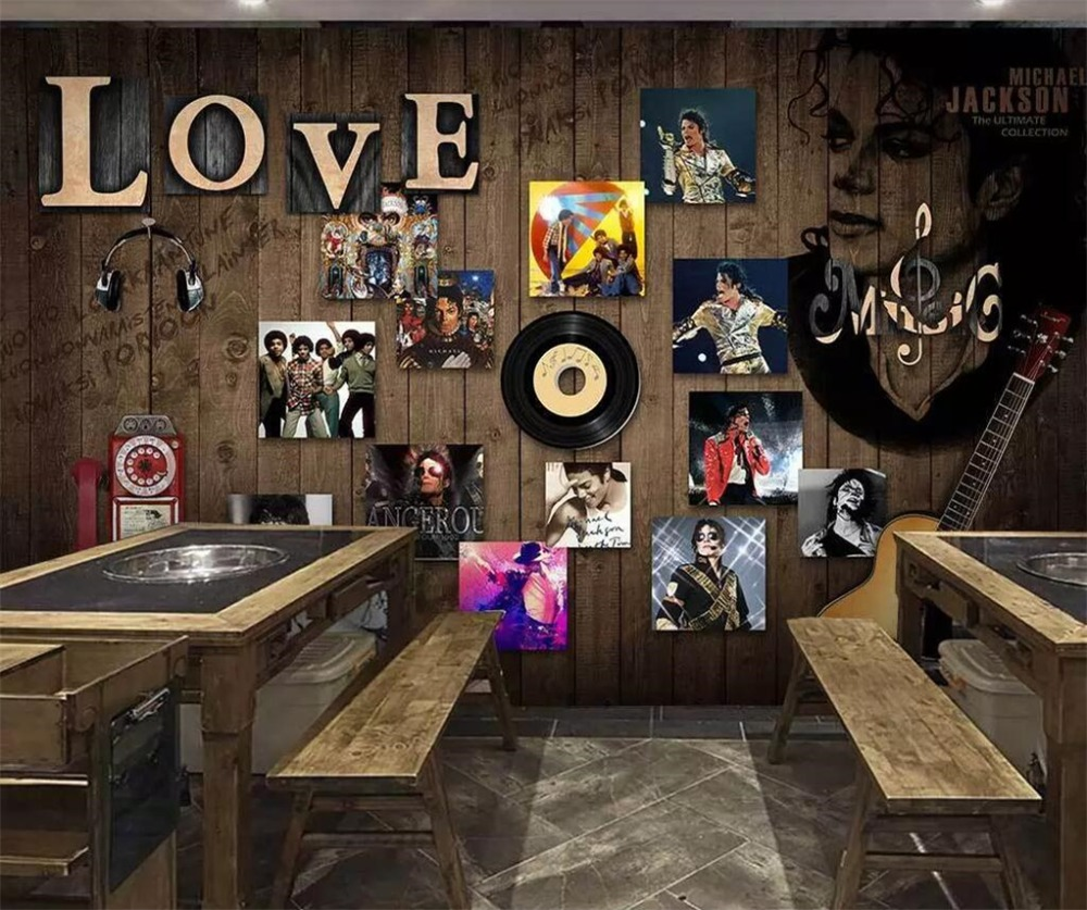 Us 885 41 Offbeibehang Custom Wallpaper 3d Stereo Murals Fashion Retro Music Backdrop Living Room Cafe Bedroom 3d Wallpaper Papel De Parede In