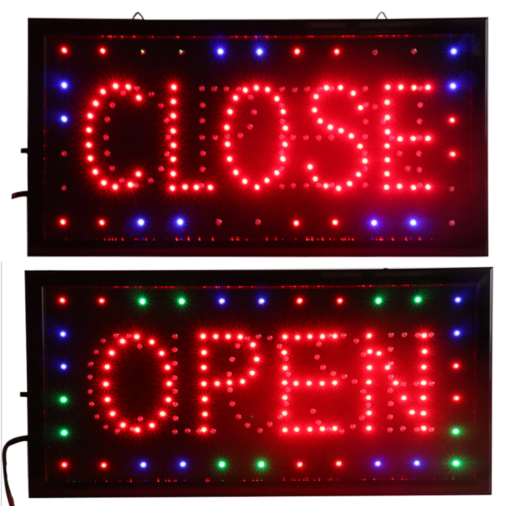 CHENXI Open & Closed 2 In 1 LED Sign Store Neon Business Shop Open Closed Advertising Light On/Off Switch 19*10 Inch Billboard.