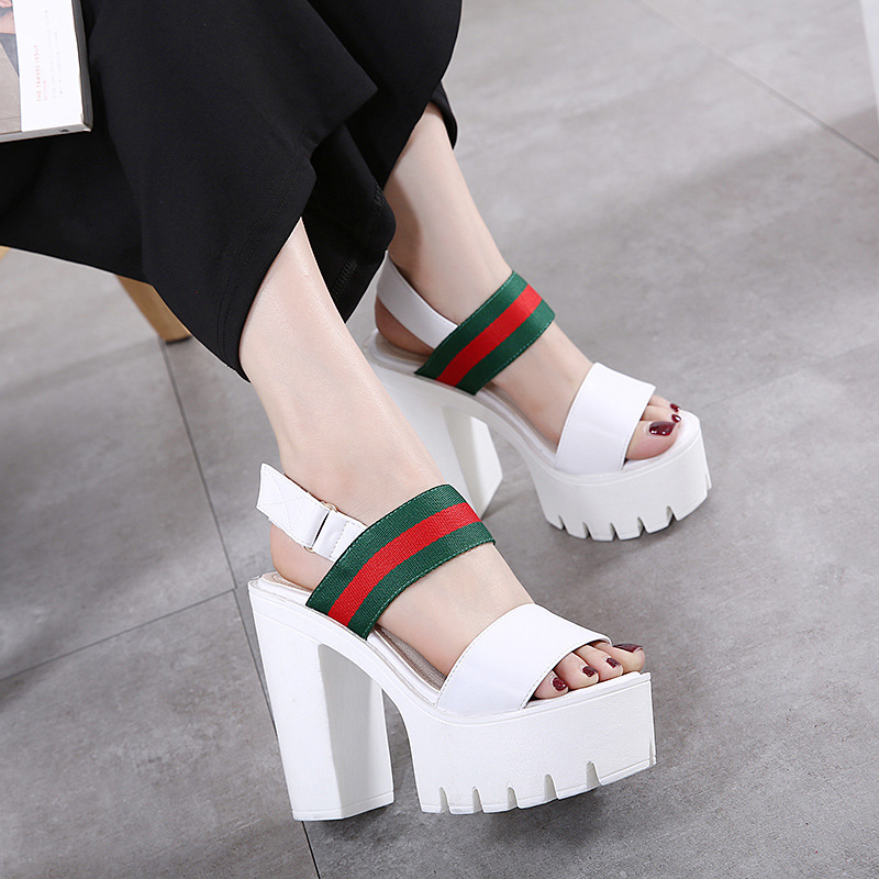 New 2017 Women Fashion Platform Sandals Summer Shoes White Black Open Toe Sandals Thick High heels Elegant Women's Shoes NL011 hxrzyz high heels sandals women rivet thick heel clear shoes summer fashion ladies open toe black white comfortable women shoes