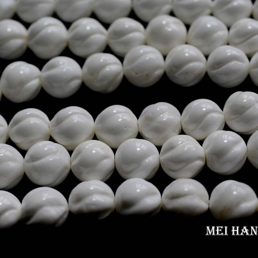 Free shipping (2 strands/set ) natural  10mm white giant clam carved twisted shell beads for  jewelry making design or gift