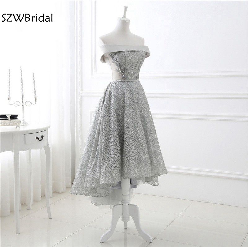 New Arrival Strapless Gray   Prom     dresses   Long back Front short Kaftan evening   dress   Plus size vestido de festa