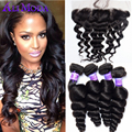 8A Brazilian Virgin Hair Loose Wave With Frontal Closure 3 bundles Brazilian Loose Wave With Ear To Ear Lace Frontal Closure #1B