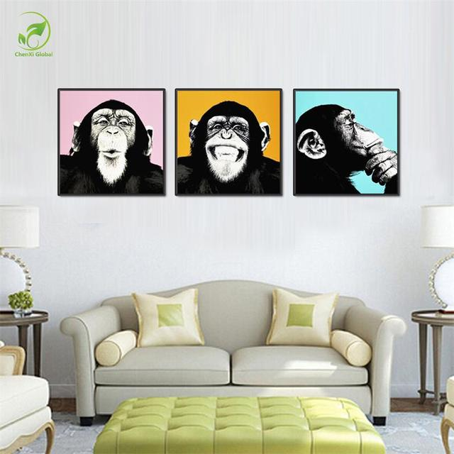 3pcs Melamine Sponge Board Canvas Oil Painting Picture Funny Monkey Frame  Living Room Wall Art Paint Part 69