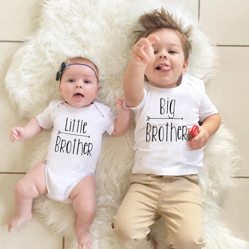 Big Brother Little Brother Letter Printed Family Matching T-shirt Kids Tops Tee Romper Short Sleeve Cotton Baby Boys Clothes D20 knot front letter tee