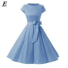 2019 ผู้หญิง Robe Swing Retro Pin Up Vintage 1950 s 60 S Rockabilly Dot ฤดูร้อนหญิง Dresses Elegant Tunic vestidos(China)
