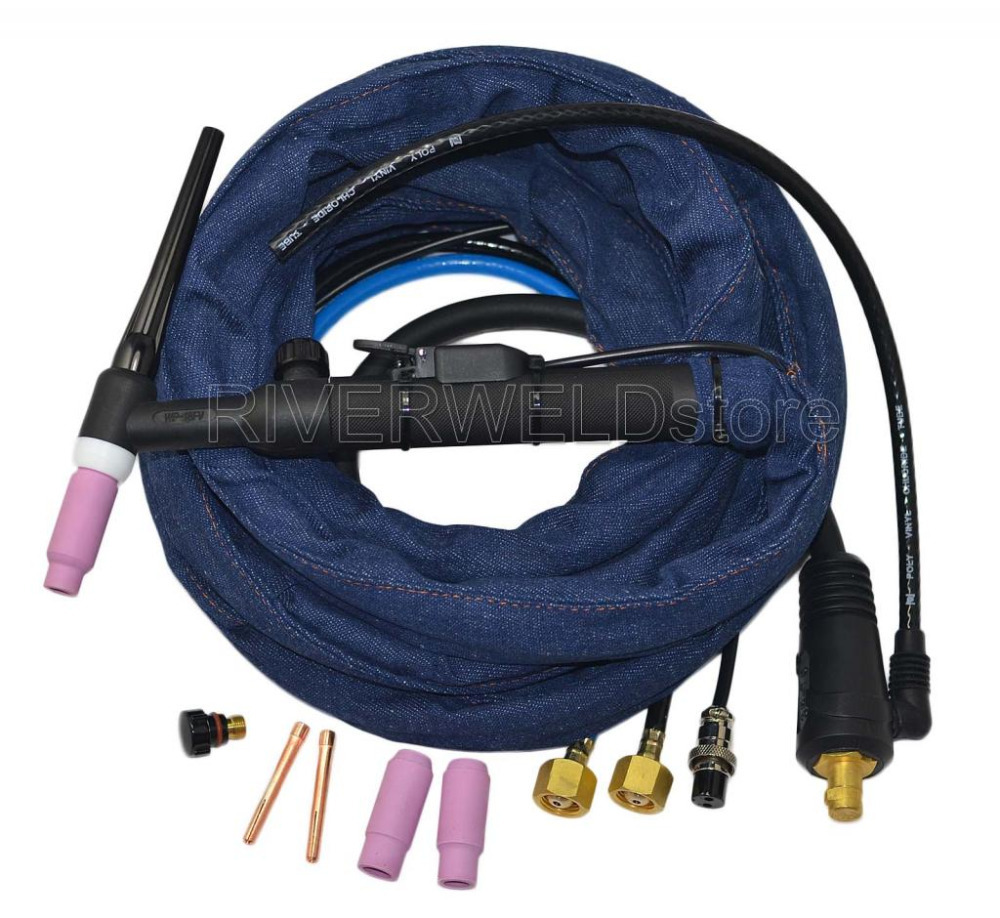 WP-18FV-12 TIG Welding Torch Complete Water Cooled 350Amp Flexible & Gas Valve TIG Head Body light weight djk35 50 9mm quick gas connector silica gel soft wp 26 wp 26 tig 26 tig torch complete 8m 12feet 26 series