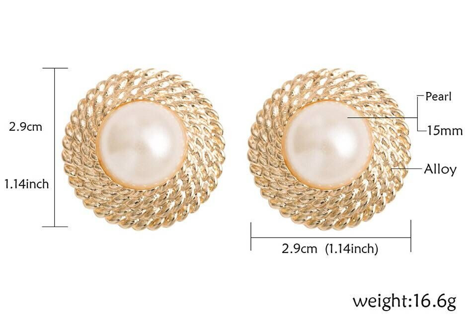 6pcs Milan fashion new circle pattern pearl ear clip exaggerated romantic valentine gift women jewelry