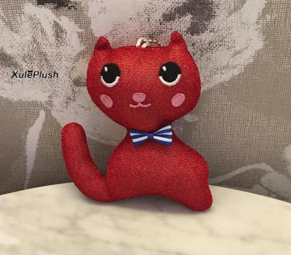 Милая 11 см галстук-бабочка Кот чучело Плюшевые игрушки, 4 Цвета-детские игрушки, детский небольшой плюшевый Кот игрушка-брелок