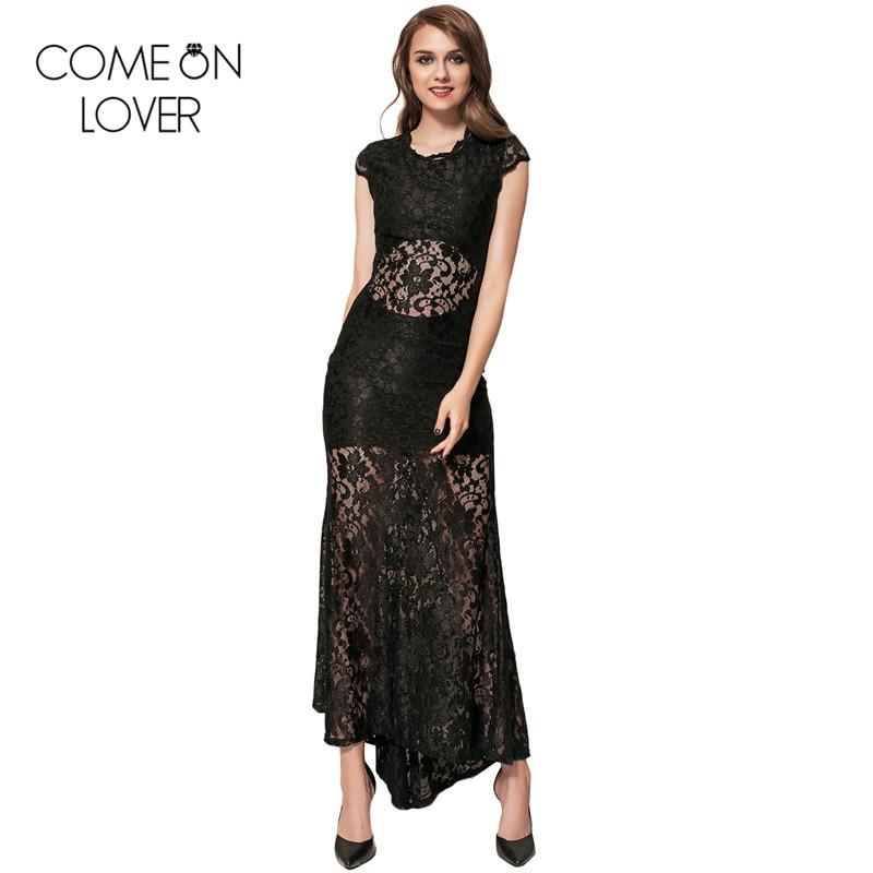 Comeonlover Sexy open back dresses summer short sleeve black/blue long dress VE1065 backless dress vestidos bodycon lace dress