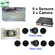 GreenYi двухканальная автомобильная видео Парковочная реверсивная радарная система 6 сенсоров с фронтальной камерой и камерой заднего вида