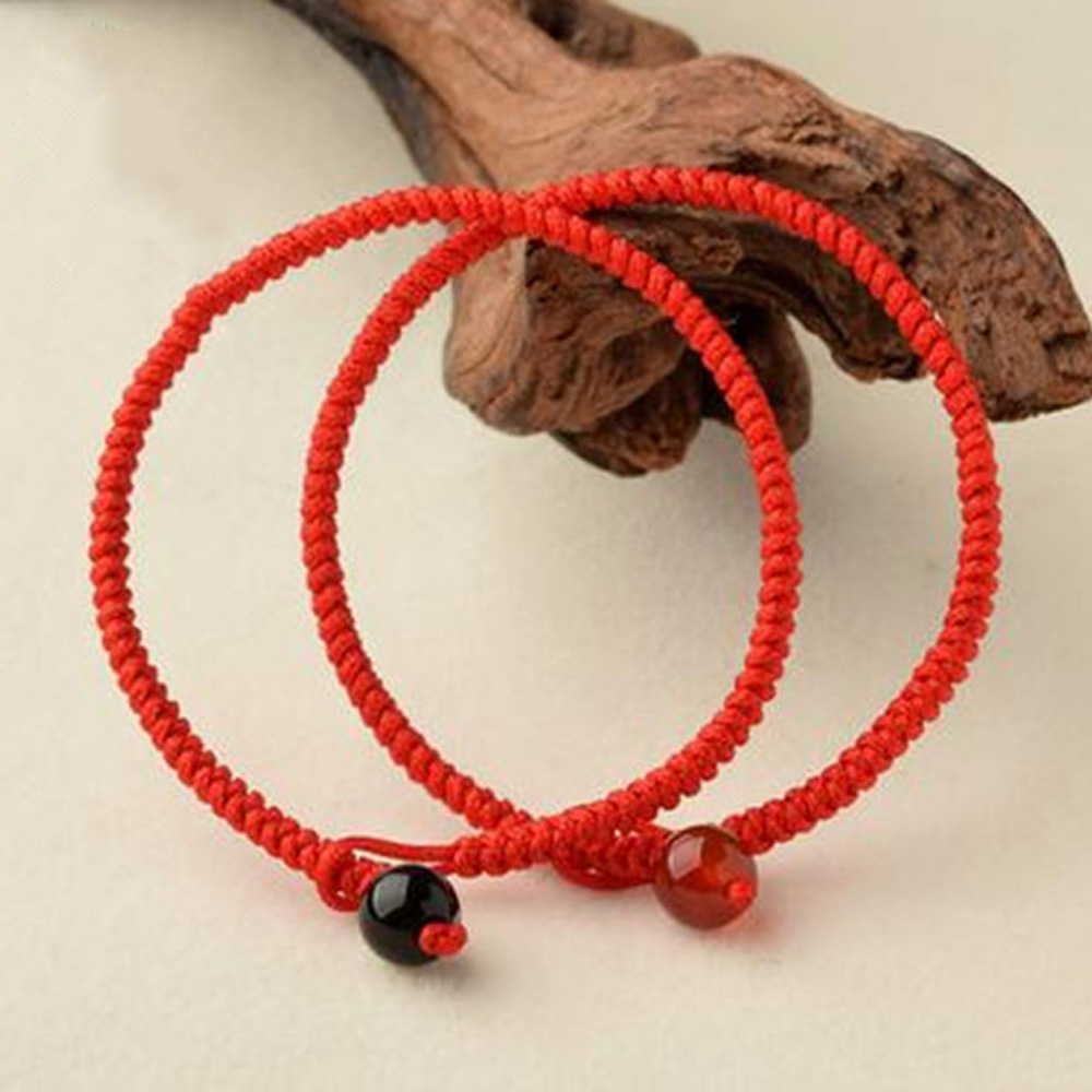 Hot sell Red rope lucky Bracelet Handmade Knitted Bangle natural sardonyx beads jewelry for women girls drop shipping