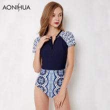 AONIHUA Short Sleeves 1 One Piece Swimsuits Women 2018 Vintage Slim Blue Retro Beach Surfing Swimwear Female Swim Suit 9050 XXL