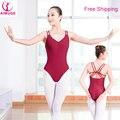 Двухместный Бретельках Женщины Боди Сексуальные Девушки Взрослых Балет Танец Носить Черный Красный Хлопок Балета Трико