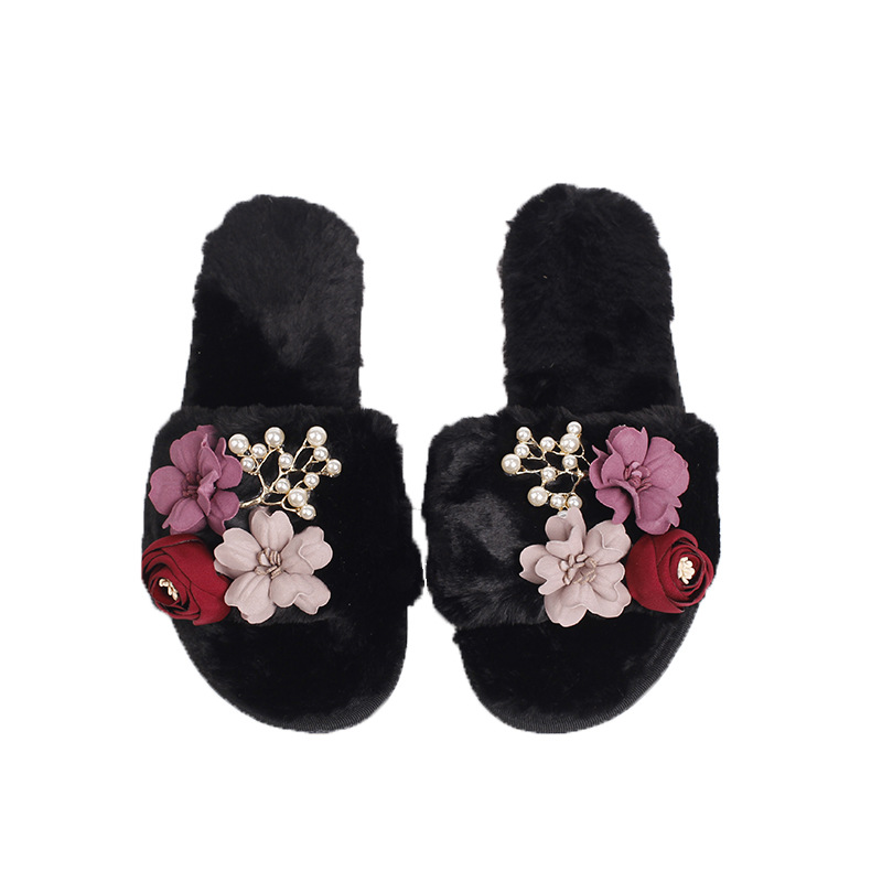 Shoes Women Winter Home Slippers Flowers Non-slip Soft Warm Ladies Shoes Indoor Bedroom Loves Couple Floor Shoes SA26 plush home slippers women winter indoor shoes couple slippers men waterproof home interior non slip warmth month pu leather