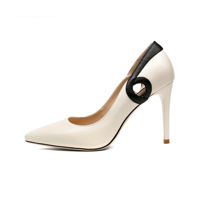 White And De Casual Mince Chaussures Slip Taille Pointu Peu Printemps Hauts Nouvelles 34 on Bureau Femmes 39 Talons White Black Femme Profonde Bout green Doratasia w10E6qSS