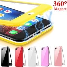 360 магнитный адсорбционный чехол для телефона iphone XR XS Max iphone 6s plus 6 s Coque чехол для iphone 8 7 plus X чехол iphone 7 Capa