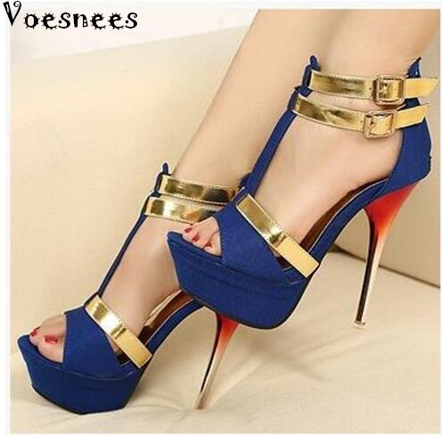 Shoes Women Super High Heels New Nightclub Sexy Stilettos Waterproof Sandals 2016 summer in Europe and Fish Mouth Femlae shoes summer new pearl rhinestone sandals sexy nightclub fine with waterproof shoes 12cm fish head buckle sandals t
