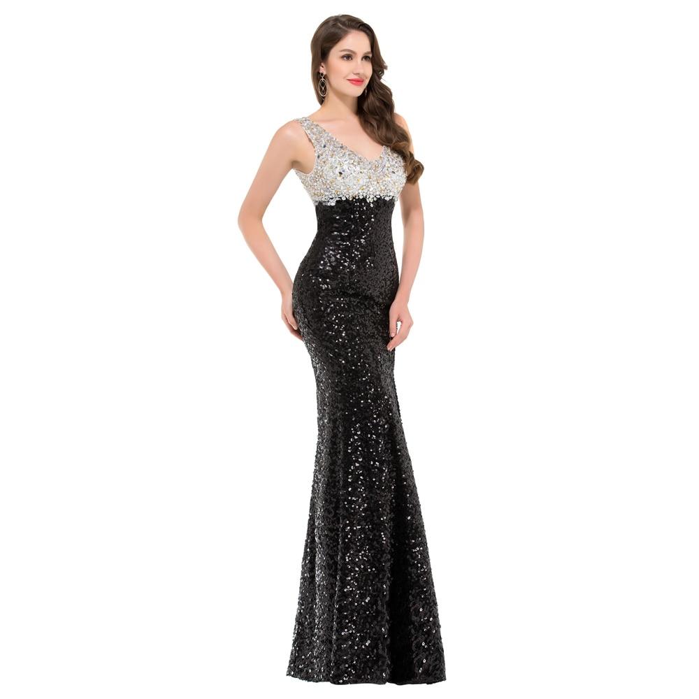 Sparkle High Quality Black Sequins Evening Dress Double V neck Split ...