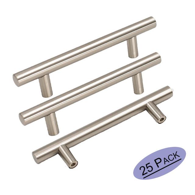 Goldenwarm Brushed Stainless Steel Kitchen Cabinet Handles Silver T Bar Hole Centers 3-3/  sc 1 st  AliExpress.com & Goldenwarm Brushed Stainless Steel Kitchen Cabinet Handles Silver T ...