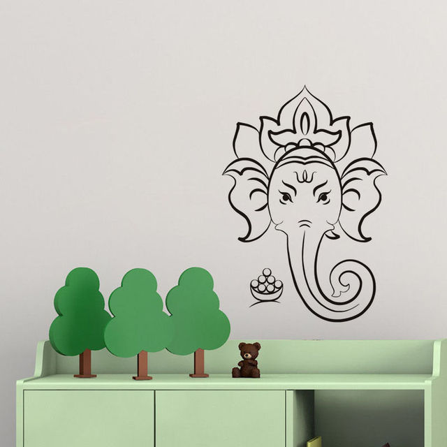 Ganesha Hindu God Wall Art Stickers Head Of Elephant Religious Vinyl Wall  Decal Home Decor Living