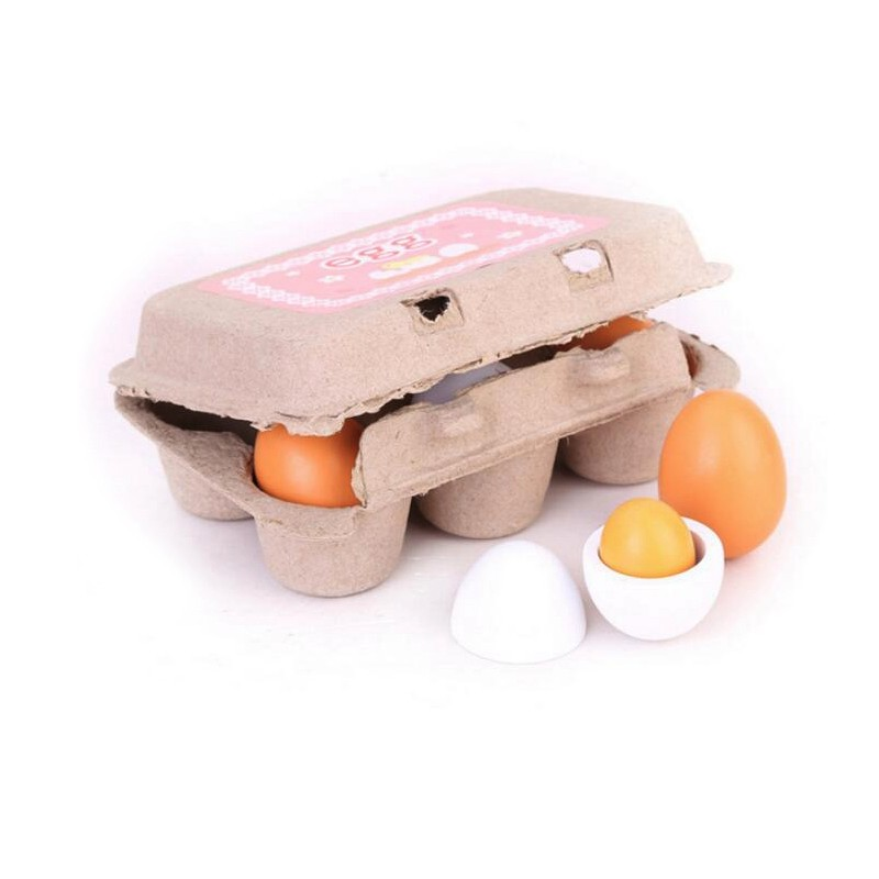 6PCS Kids Wooden Pretend Egg Play Toy Set Toddler Toys Preschool Educational Toy