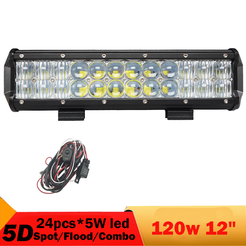 ФОТО 120W 12'' Off Road LED Light Bar 5D Waterproof 4WD SUV Headlight Fog Lamp Truck Pickup Golf  ATV UTB LED Driving light 12V 24V