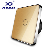 Free Shipping Jiubei New Type Touch Switch Golden Color 220 250V Touch Screen Wall Light Switch