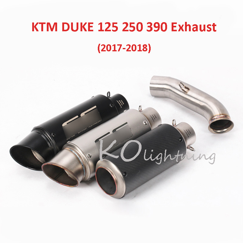 Slip On DUKE 125 250 390 Motorcycle Exhaust System Tip Escape Link Mid Pipe For KTM 125 250 390 DUKE 125 250 390 RC390 2017 2018 motorcycle exhaust link pipe for ktm duke 125 duke 200 duke 390 carbon color motorbike exhaust muffler escape full system laser