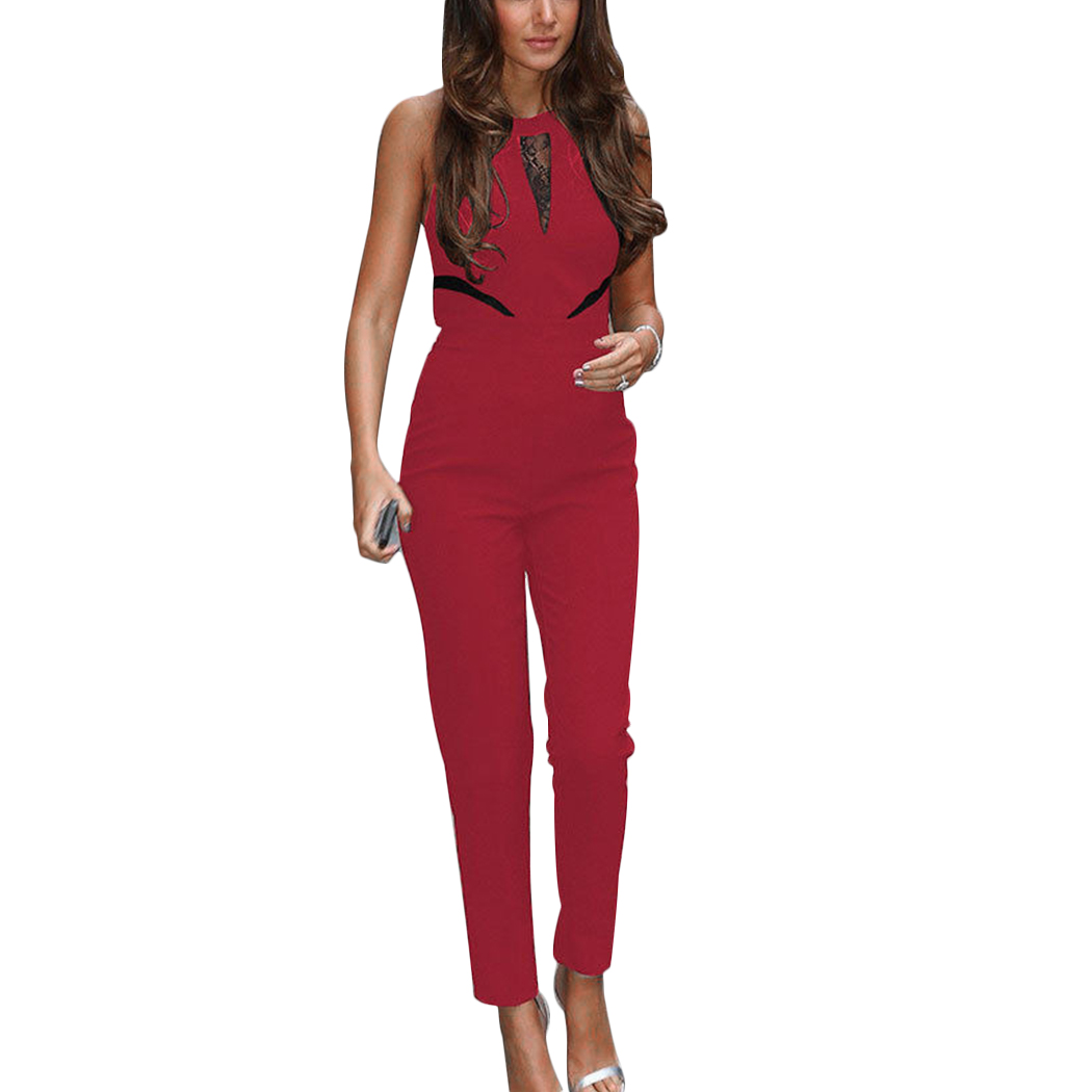 2018 Womens Party Jumpsuits Sleeveless Summer Overalls Lace Hollow Out Ladies Office Work Wear Playsuit Ladies Long Jumpsuit