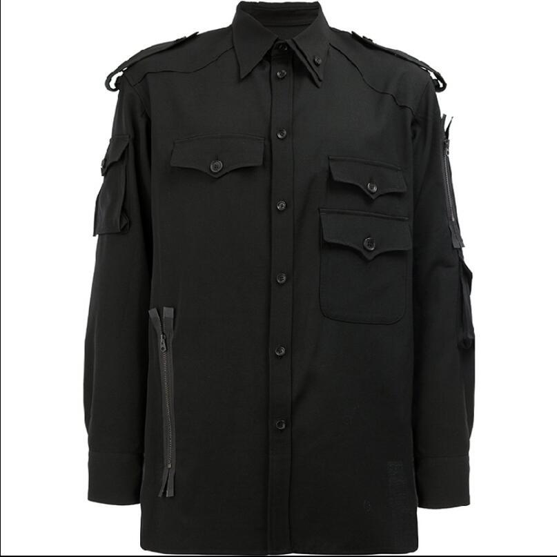 S-6XL Original Design hommes chemises lâche style militaire modèles personnalisés mode à manches longues noir multi-poches décontracté marée