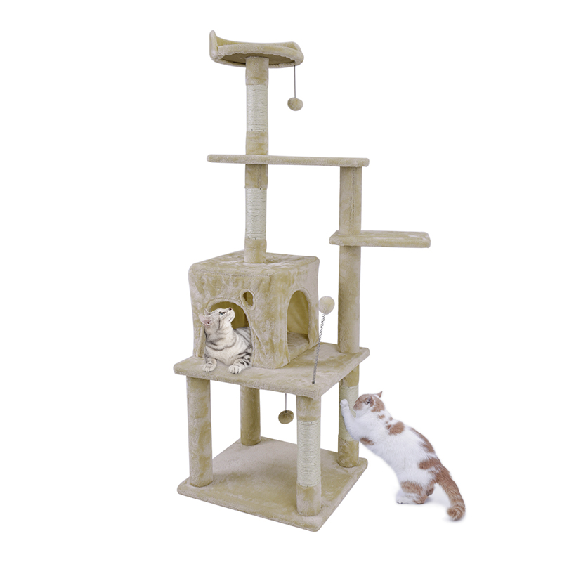 Domestic Delivery Cat Toy House Bed Hanging Balls Tree Kitten Furniture Scratchers Solid Wood For Cats Climbing Frame Cat Condos #4