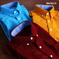 Men's Winter Warm Corduroy Long Sleeve Male Dress Shirts Vintage British Casual Size 4XL High Quality Fit Autumn Solid Color