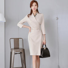 b52963b7f0 2019 New Women Summer OL Women Elegant Office Lady korean Dress with belt  Vestido Casual Slim Basic Work Ladies Dresses