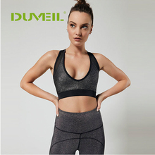 DUVEIL Sports Two-piece Yoga Pants+ Bra Sleeveless Solid Stitching Five-part Trousers Suit Leisure