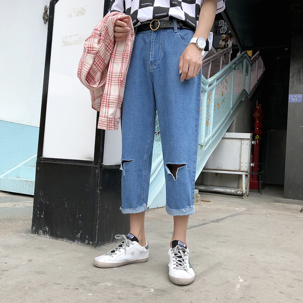 2018 Men Fashion Two Holes Classic Style Loose Blue Brand Jeans Stretch Casual Pants Baggy Solid Color Trousers Plus Size M-2XL