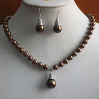 Hot Sale New Style Fshion 8mm Brown Pearl Necklace 14mm Hook Earring Pendant Jewelry Set