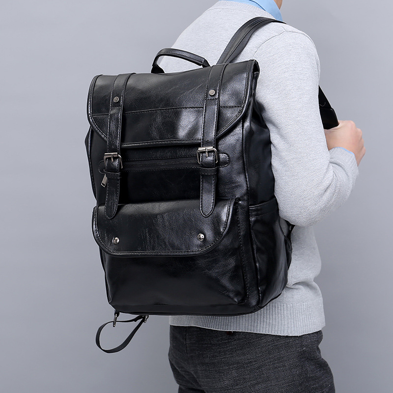 Роскошный кожаный деловой черный мужской рюкзак для ноутбука, мужские школьные рюкзаки для подростков, мужской рюкзак для ноутбука, мужска... - 2