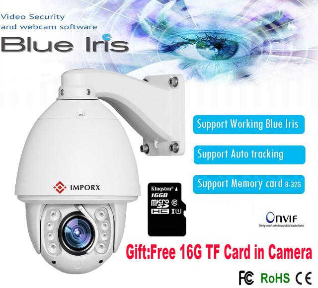 2017 Nova Auto tracking PTZ Câmera IP software Íris Azul de Trabalho high speed Dome Câmera com cartão de memória suporte Hik NVR onvif