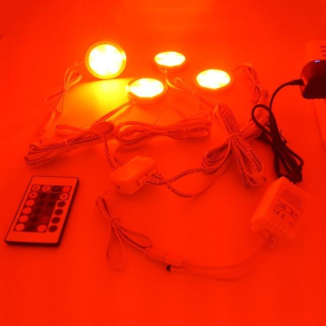 4PCS LED Under Cabinet Light 9 leds 24Keys Remote Control Dimmable Kitchen Lights wardrobe bar lamp night lamps home Decoration