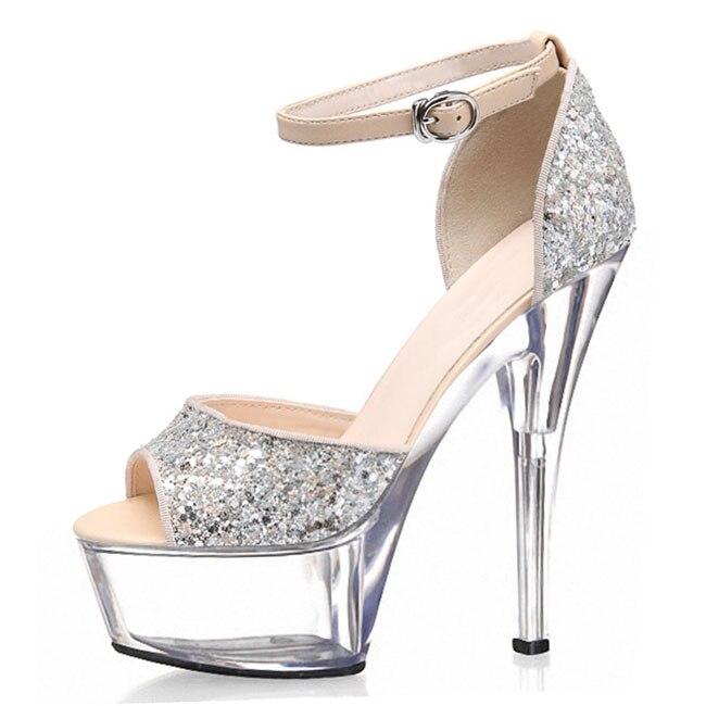 6 Inch Sexy Clubbing High Heels 15cm Platform Sparkling Glitter Silver Wedding Shoes Ankle Strap Crystal Sandals