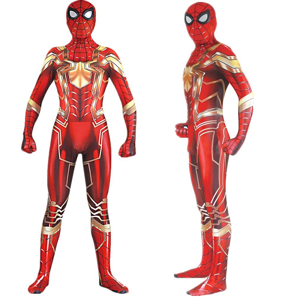 Spiderman Cosplay Costume Zentai Glod Red Iron Spider Man Superhero Bodysuit Suit Jumpsuits