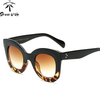 DRESSUUP 2017 Fashion Big Frame Sunglasses Women Brand Designer Vintage Rivet Shades Female Sun Glasses Oculos De Sol Feminino